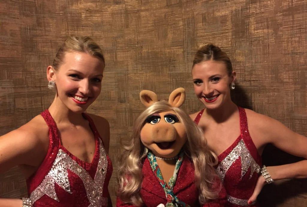 Rockettes Christina (left) and Sarah (right) posing alongside Miss Piggy